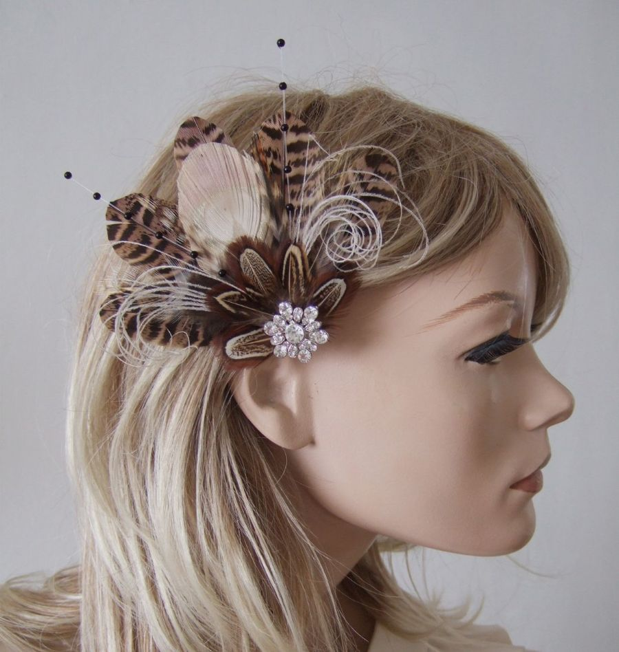 "Natural Peacock Brown Pheasant Cream Nudes Feathers Bridal Wedding Fascinator Hair Clip ""Leanne"""